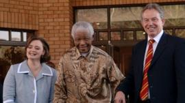 Cherie Blair, Nelson Mandela and Tony Blair