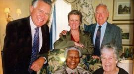 Peter Hain and his mother with Nelson Mandela