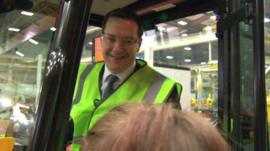 George Osborne in a JCB
