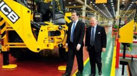 The Chancellor, George Osborne, visiting a JCB factory