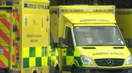 Ambulances waiting outside a hospital