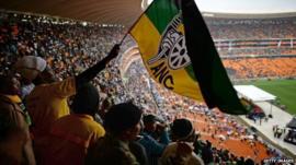 Nelson Mandela memorial service at the FNB Stadium