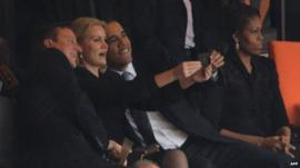 David Cameron, Barack Obama, Helle Thorning-Schmidt and Michelle Obama