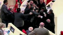 Members of parliament brawling