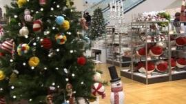 Christmas tree and snowman in a shop