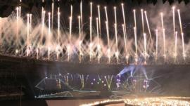 Fireworks in stadium at opening ceremony of the SEA Games