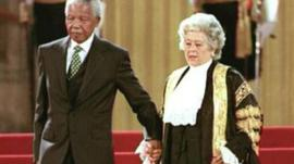 Betty Boothroyd and Nelson Mandela pictured at the Palace of Westminster in 1996