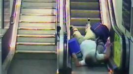 CCTV of escalator accident