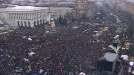 Independence Square in Kiev full of protestors