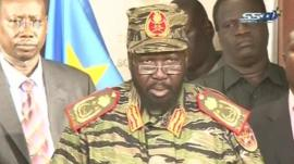 President Salva Kiir appears on national television to decry the coup attempt