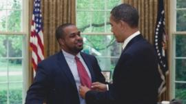 Joshua DuBois and President Obama in the Oval Office