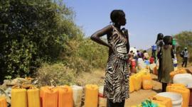 A woman displaced by recent fighting in South Sudan