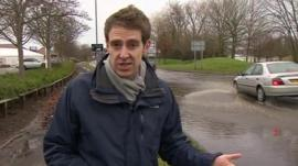 Nick Beake by flooded road in Byfleet