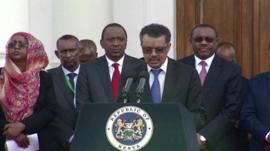 Ethiopian Foreign Minister Tedros Adhanom and other leaders