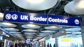 UK Border Controls sign at Heathrow Terminal Five
