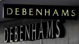 Debenhams shop sign