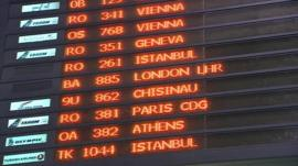 Airport departure board in Bucharest