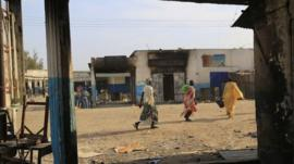 Burnt out shops in South Sudanese town of Malakal