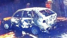 A car in west Belfast that was burnt out after being used in a race