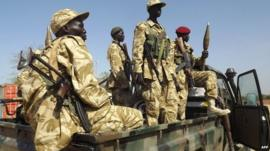 South Sudanese government troops near Bor, 25 December