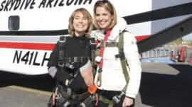Former U.S. Congresswoman Gabrielle Giffords (L) is pictured with Savannah Guthrie of NBC's TODAY show