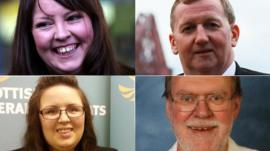 By-election candidates, top Natalie McGarry (SNP) and Alex Rowley (Labour) and bottom Jade Holden (Lib Dems) and Dave Dempsey (Conservative)