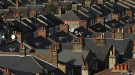 Rooftops of houses in Clapham, London