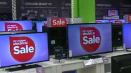 Monitors on display during Currys PC World sale
