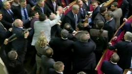 Scenes in Ukraine Parliament