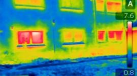 Infra red image of house with energy loss
