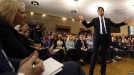 Ed Miliband address activists and the media at the University of London