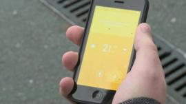 Smartphone showing energy-controlling app