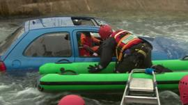 Flood rescue training exercise