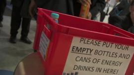 A box for empty cans and bottles of energy drinks