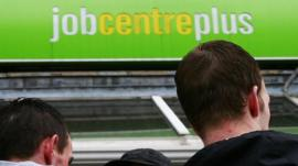 Men outside job centre