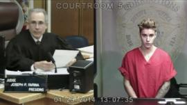 Judge (left) and Bieber in court