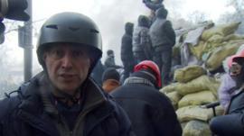 Steve Rosenberg behind the protesters' barricades