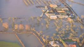 Aerial shot showing floods in Somerset