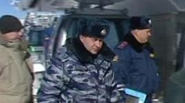 Russian security officers at site of Winter Olympics in Sochi