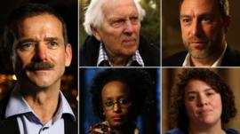 Chris Hadfield, Norman Kember, Jimmy Wales, Jess Thom, Leyla Hussein (clockwise)