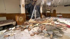 A Sikh temple in Leicester was badly damaged after it was hit by lightning