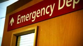Hospital A&E door sign