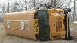 Overturned school bus