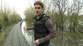 BBC reporter Andrew Plant at the specially-created walkway to Muchelney in Somerset