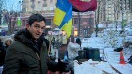 Matthew Price at a protest camp in Kiev, Ukraine