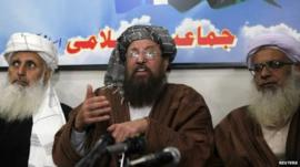 Taliban negotiators during a news conference