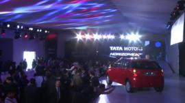 Tata car on a stand at the Delhi Auto Show