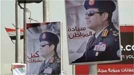 Posters of Field Marshal Abdul Fattah al-Sisi in Cairo. Jan 2014