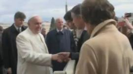 Pope Francis meets Steve Coogan and Philomena Lee