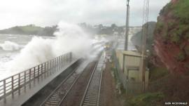 One of the last trains using the sea wall before the line collapsed